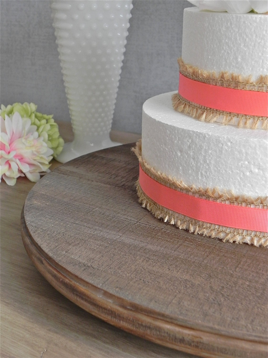 14 wedding cake stand round dark rustic wooden country