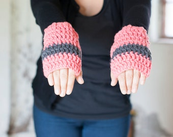 Hand warmers salmon pink and gray chunky soft wrist warmers or fingerless gloves