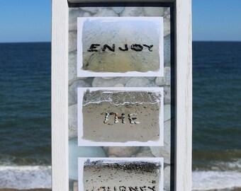 Beach Theme Photo Sentiment- Enjoy the Journey rustic coastal photo art, beach stones, beach cottage decor, beach words, motivating word art