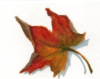 Small Acrylic Painting - Original ACEO Painting of an Autumn Leaf - Minimalist Decor
