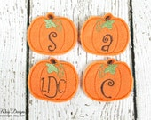 Monogrammed Pumpkin Clip, Halloween Thanksgiving, Felt Hair Clippie, Initial Hair Clip, Machine Embroidered, Alligator Clip