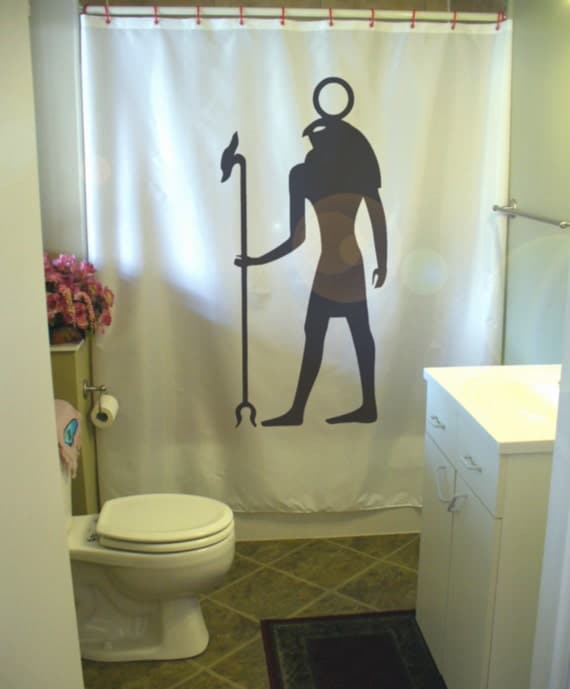 Egyptian god ra shower curtain ancient deity egypt sun solar for Egyptian bathroom designs