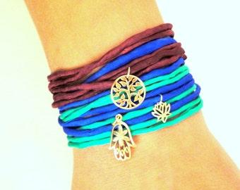 Silk Wrap Wish Bracelet with Bronze Charm
