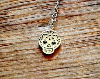 Sterling Silver Sugar Skull Charm Necklace