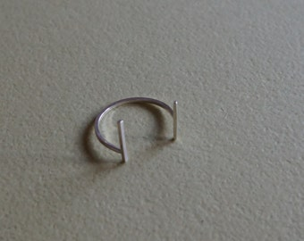 open adjustable ring - cuff ring - horseshoe ring - size 6 to 8