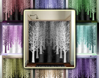 Gray Shades Forest Avenue Stand Tree Lane Shower Curtain Fabric Extra Long Window Panel