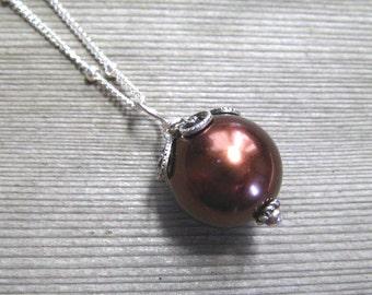 Chocolate Pearl Necklace,  Brown Pearl,  Sea Shell Pearl,  Single Pearl Pendant,  June Birthstone