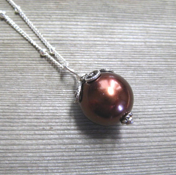 Chocolate Pearl Necklace,  Brown Pearl,  Sea Shell Pearl,  Single Pearl Pendant,  June Birthstone