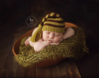 Newborn photo prop, newborn hat, newborn boy, newborn girl, newborn props, Newborn elf hat with tassels
