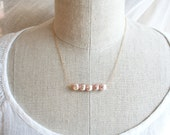 Bridesmaid Jewelry Set, Pink Pearl Necklace