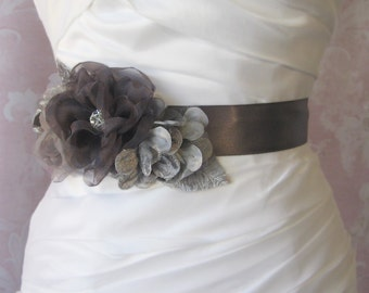 Pewter Bridal Sash, Gray Wedding Belt with Handmade Grey and Charcoal Organza Flowers - MIST