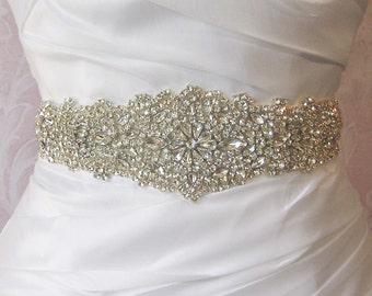 "Crystal Rhinestone Sash, Diamond White Bridal Sash, Off White, Ivory, Champagne Wedding Belt, Wedding Sash, 13"" of Rhinestones- ISIDORA"