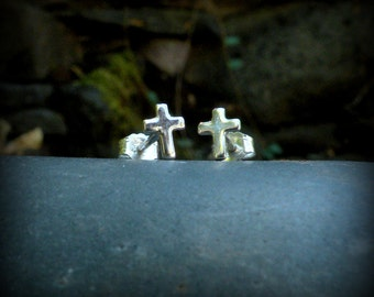 Cross post earrings, sterling silver