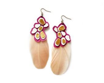 Feather Earrings, Geometric Earrings, Metallic Leather Earrings, Fuchsia, Gold and Beige Statement Earrings