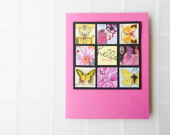 Friendship Card - Hello Friend, Butterflies, Nature, Collage, Art Chix - Yellow, Fuchsia, Pink - Greeting Card - Handmade Card