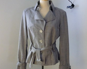 Linen Esprit Windowpane Jacket /  Flax Jacket with buckles / Gray blazer / Linen Jacket / Trench style Cotton Belted jacket M - L