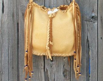 Leather tote with fringe ,  Fringed leather tote ,  Fringed leather handbag , Cross body bag