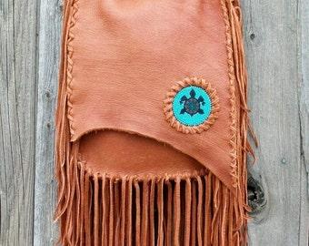 Handmade  crossbody bag with beaded turtle totem , Fringed purse