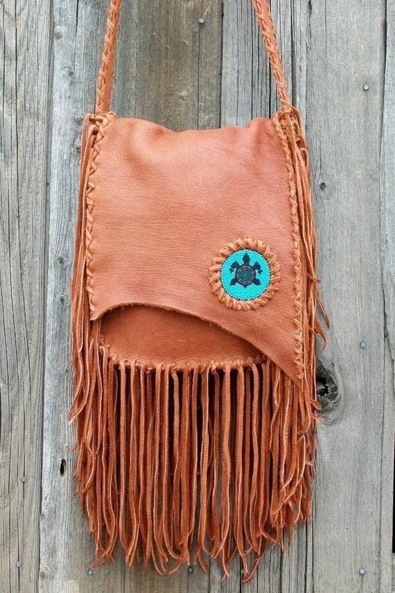 Handmade  crossbody bag with beaded turtle totem , Fringed leather handbag