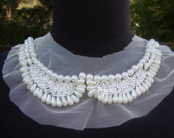 White Tulle Beaded Neckline Applique Embellishment Necklace Pearl Beads Faux Pearls White Dress Bridal Lace Collar S110