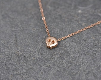 ROSE GOLD Skull Necklace, Tiny Rose gold plated Fine Silver skull on rose gold necklace, dainty skull charm, pink skull necklace