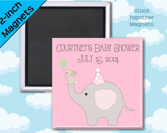 Baby Shower Favor Magnets - Elephant and Bunny - 2 Inch Squares - Set of 10 Magnets