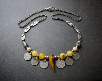 Tribal Kuchi Coin Statement Necklace with Agate Horn, Yellow Jade Beads and Vintage Silver Chain