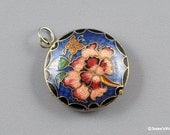 Cloisonne Pendant Flower Floral Butterfly Blue Pink Red Green