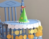 High Chair Birthday Banner - sunny circles in blues, yellows and white