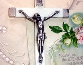 Vintage Cross Crucifix White Bakelite or Ivory Crucifix made in Italy