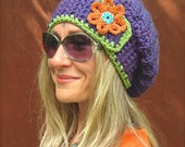 Purple JUMBO SLOUCHY Beanie hat crochet slouch hat Groovy Girls colorful FLOWER beret hand made Hat Hippie hat Women slouchy Beanies GPyoga
