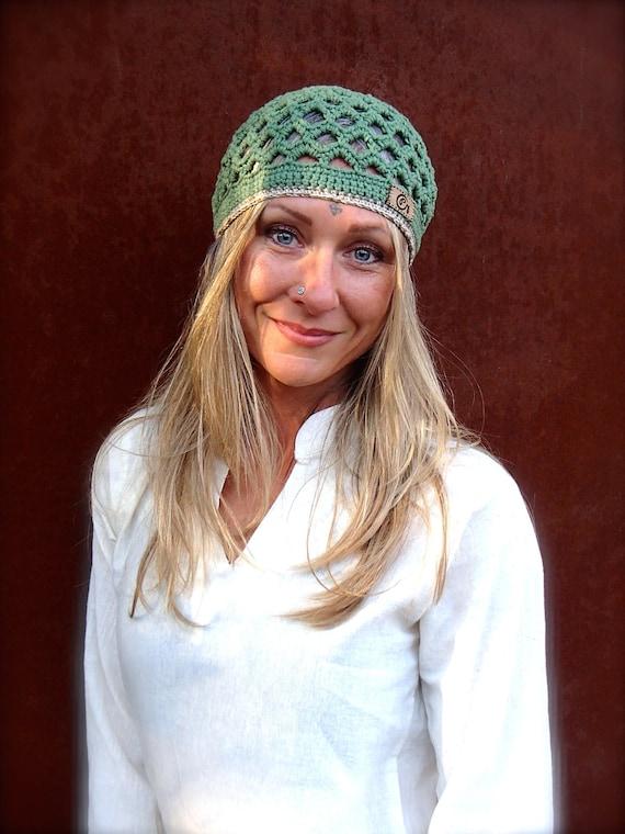 HIPPIE earthy GREEN BEANIE cotton hat Skullcap Bohemian hat women men Crochet beanie Kufi hat Summer Beanie