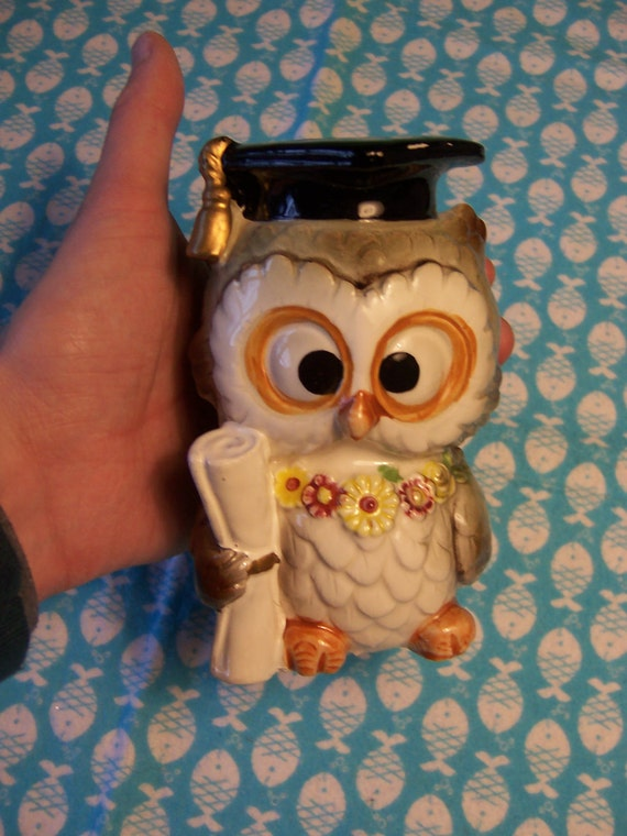 Items Similar To Owl Graduate Ceramic Coin Bank Figurine With Rubber Stopper Vintage By Lefton
