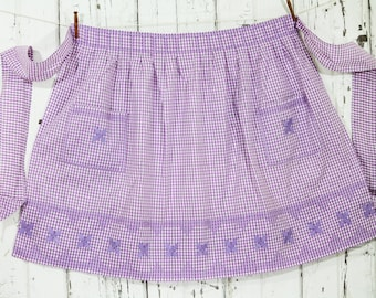 1950's Half Apron Vintage - Lavender and White Gingham - Cross Stitch and Applique Detail-
