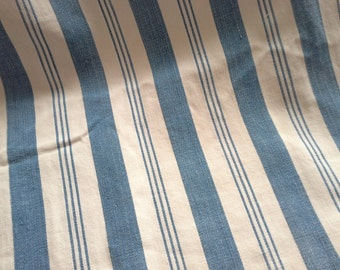 Antique 1800 Indigo Blue and White Feather Pillow Ticking- FABRIC- Farmhouse Fresh