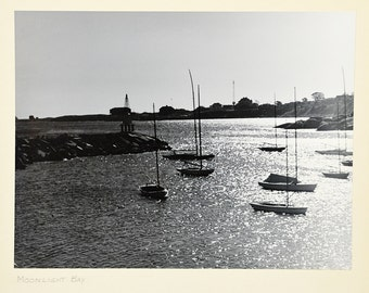 20 PERCENT OFF Code: 20FOR17 > 1950's Amateur Black & White Art Photography Matted #10 Moonlight Bay