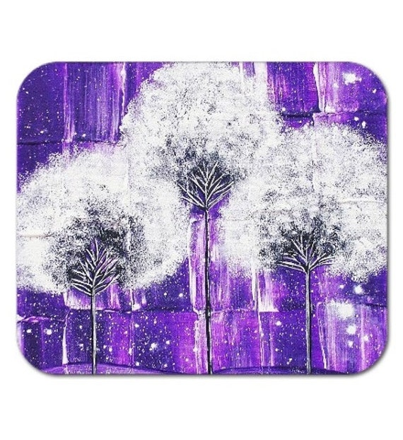 Mousepad Mouse Pad Fine Art Painting Purple Snow Trees Surreal Snowy Violet