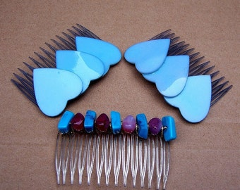 Vintage hair comb 3 blue heart hair accessories hair slide hair pin hair jewelry hair ornament headdress hair pick hair barrette