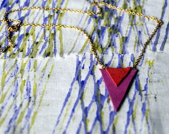 Long necklace with pink and tangerine leather triangles