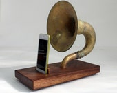 The Horn-A-Phone - iHorn -- Large Brass  Acoustic  Speaker Upright Horn Dock -- Acoustic Speaker System Docking Station  CHERRY - Patina