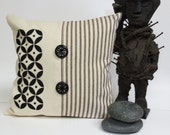 Hand Printed Pillow with Mid Century Moroccan Design - Black and Ivory Pillow