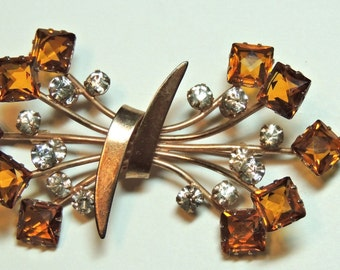 Sterling Silver Brooch 1940s Large Spray Flowers Amber Gold Vermeil Vintage Jewelry