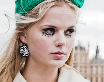 Emerald Green Knitted Bow Headband, Knitted Headband, Oversized Bow Headband, Cute and Cosy Ear Warmer