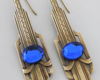 Sapphire Earrings - Art Deco jewelry - Chloes Vintage Jewelry - Vintage Brass Earrings - handmade jewelry
