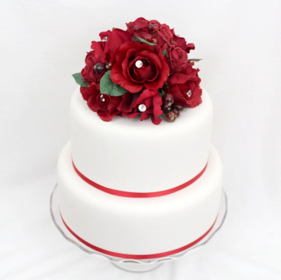 Reserved for wtredmond1 Wedding Cake Topper Red Rose Silk