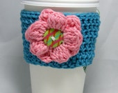 Big Flowers button crochet coffee cozy - handleless for disposable cup