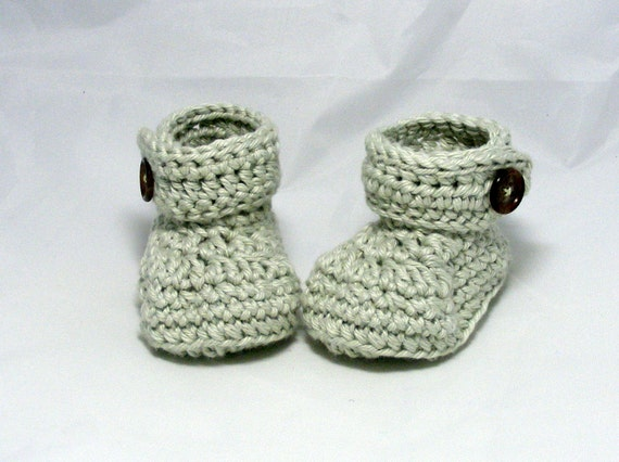 Crochet Button Flap Ankle Booties for baby infant toddler newborn