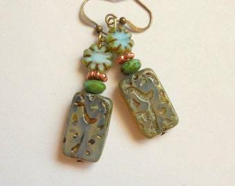 Flower Earrings,Czech Glass Rustic Earrings,Organic Earrings