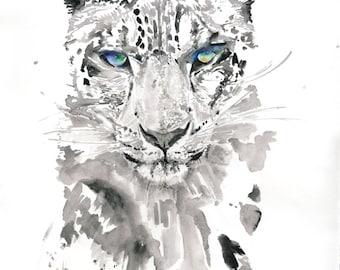 Leopard Print. Art Print of Watercolour Leopard, Big Cat painting, Print from original cat painting, Leopard Wall Art, Leopard Poster