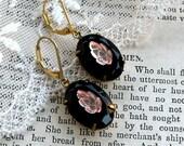 Pink Leaf on Black, Jet Black Vintage Glass Embossed with Glass Rosaline Pink Leaves Vintage Assemblage Earrings